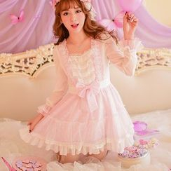 Candy Rain - Bow Accent Lace Trim Long Sleeve Dress