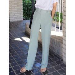 FROMBEGINNING - Flat-Front Straight-Cut Dress Pants