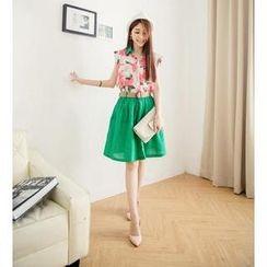 Hanako Shiratori - Set: Color-Block Floral Blouse + A-Line Skirt + Belt