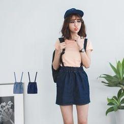 PUFII - Denim Jumper Skirt