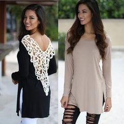 Saranghae - Long-Sleeve Lace Back T-Shirt Dress