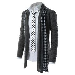 TheLees - Wool-Blend Open-Front Cardigan with Houndstooth Scarf
