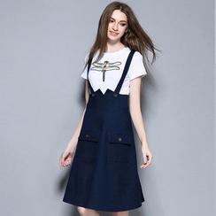 Cherry Dress - Set: Printed Short-Sleeve T-shirt + Suspender Denim Skirt