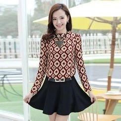 AiSun - Set: Long-Sleeve Top + A-Line Skirt