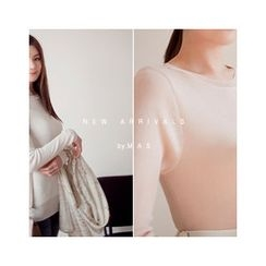 MASoeur - Round-Neck Pointelle-Knit Top