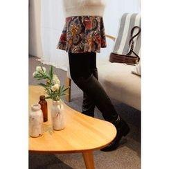 CHERRYKOKO - Floral Pattern A-Line Mini Flare Skirt