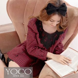 Tokyo Fashion - Crochet-Neckline Long-Sleeve Plaid Dress
