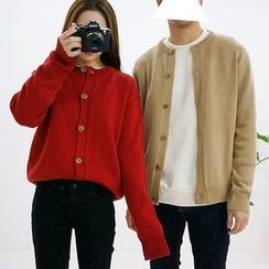 Seoul Homme - Couple Round-Neck Button-Down Cardigan