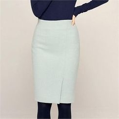 MAGJAY - Wool Blend Slit-Front Pencil Skirt
