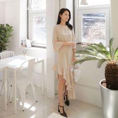 WITH IPUN - 3/4-Sleeve Asymmetric-Hem Midi Dress