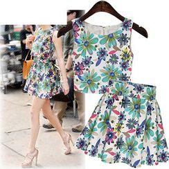 AGA - Set: Floral Print Sleeveless Top + A-Line Skirt