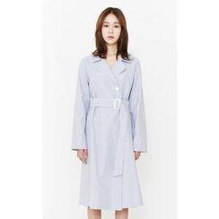 Someday, if - Belted Stripe Cotton Shirtdress
