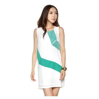 YesStyle Z - Color-Block Mesh Panel Shift Dress