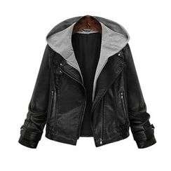 AGA - Mock Two-Piece Hooded Faux Leather Jacket