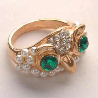 Fit-to-Kill - Green Eyes Owl Ring - Gold