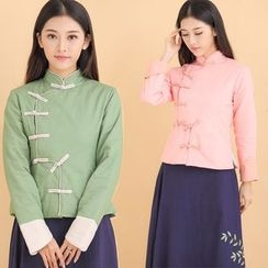 Ebbie - 纯色长袖旗袍上衣