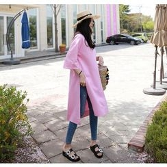 Miamasvin - Slit-Side Cotton Pullover Dress