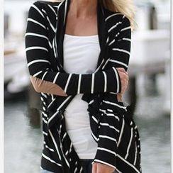 Kasumi - Striped Elbow Patch Cardigan