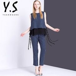 Y:Q - Set: Sleeveless Pinstriped Top + Cropped Straight Fit Pants