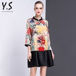 Y:Q - Printed 3/4-Sleeve Shift Dress