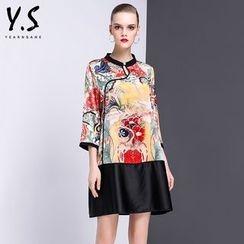 Y:Q - 印花七分袖直身連衣裙