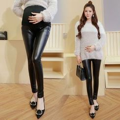 Shandie - Fleece-Lined Faux-Leather Maternity Leggings