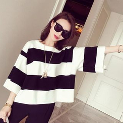 Be Bonita - 3/4 Sleeve Striped T-Shirt