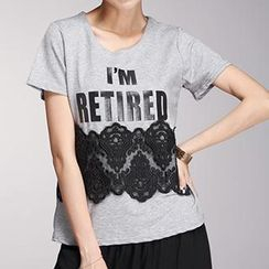 Amella - Short-Sleeve Lace Panel Lettering T-Shirt