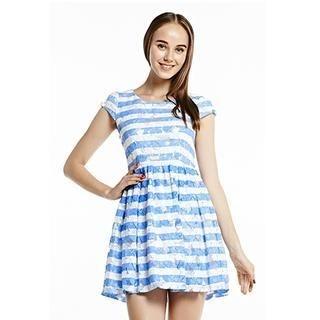 O.SA - Cap-Sleeve Striped Lace Dress