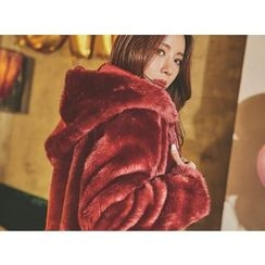 UUZONE - Faux-Fur Hooded Jacket