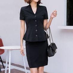 Eleganza - Set: Short-Sleeve Blazer + Pencil Skirt