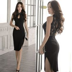 Clospace - Keyhole Front Lace Panel Bodycon Dress