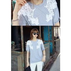 REDOPIN - Lace-Trim T-Shirt