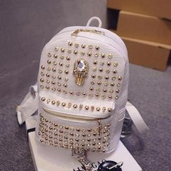 QeQ - Faux-Leather Studded Backpack