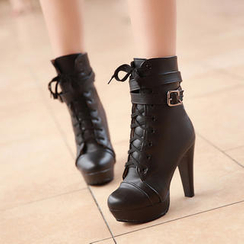 77Queen - Buckled Lace-Up Ankle Boots