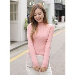 BBAEBBAE - Mock-Neck Ribbed Slim-Fit Sweater