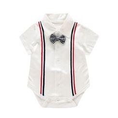 JIMIJIMI - Baby Bow Short-Sleeve Collared Bodysuit