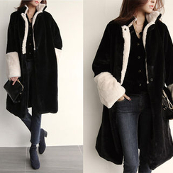NIPONJJUYA - Collarless Contrast-Trim Faux-Fur Coat
