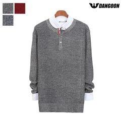 DANGOON - Buttoned-Neck Mélange Knit Top