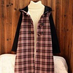 tete - Hooded Toggle Plaid Coat