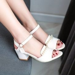 Shoes Galore - Embellished Block Heel Sandals