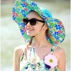 Wild Bamboo - 花形印花太阳帽