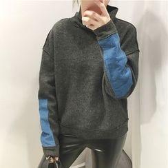 Cloud Nine - Mock Neck Color Block Sweatshirt
