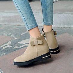 幸福鞋坊 - 仿麂皮蝴蝶结及踝靴