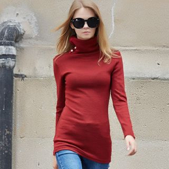 Ranee - Buttoned Turtleneck Top