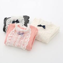 貝殼童裝 - 童裝蕾絲邊長袖T恤