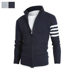 DANGOON - Contrast-Trim Zip-Up Rib-Knit Cardigan