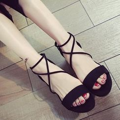 Zandy Shoes - Lace-Up Chunky Heel Sandals