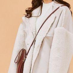 chuu - Furry-Sleeve Oversized Faux-Shearling Jacket