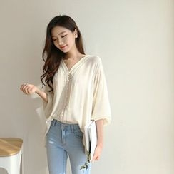 Hello sweety - V-Neck Lace-Trim Blouse